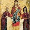 Богоматерь Свенская с преподобными Антонием и Феодосием Печерскими. Около 1288, ГТГ.jpg